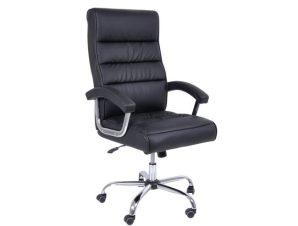 Πολυθρόνα διευθυντή από τεχνόδερμα σε μαύρο χρώμα 79x63x113/121