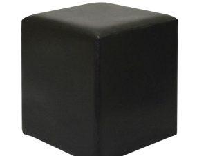 """Σκαμπώ βοηθητικό """"CLUB"""" από τεχνόδερμα σε σκούρο καφέ χρώμα 37x37x42"""