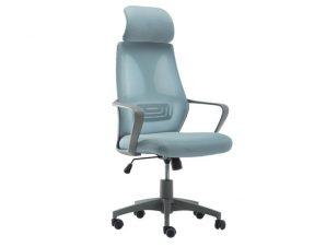 Πολυθρόνα γραφείου από ύφασμα σε χρώμα γκρι/μπλε 62x62x112/130
