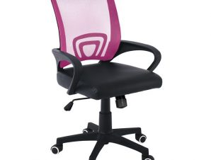 Πολυθρόνα γραφείου από ύφασμα/PU σε χρώμα μαύρο/ροζ 57x53x90/100