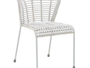 Καρέκλα εξωτερικού χώρου από wicker-μέταλλο σε λευκό χρώμα 52x58x76