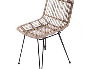 Καρέκλα σαλονιού από μέταλλο/rattan σε χρώμα φυσικό 43x57x85