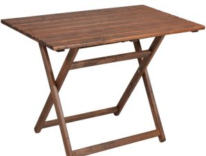 Τραπέζι πτυσσόμενο SUNSET από μασίφ ξύλο οξιάς σε χρώμα καρυδί εμποτισμού 100x60x76