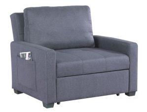 Πολυθρόνα κρεβάτι υφασμάτινη σε γκρι χρώμα 112x96x85