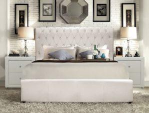 """Κρεβάτι διπλό """"QUEEN"""" από PU σε χρώμα λευκό ματ 150×200"""