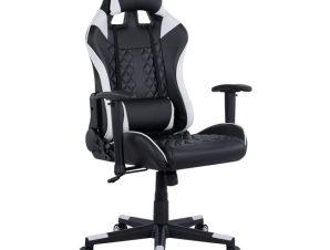 """Πολυθρόνα εργασίας """"GAMING"""" από PU σε χρώμα μαύρο/λευκό 68x69x130"""