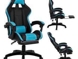 """Πολυθρόνα εργασίας """"GAMING"""" από PU σε χρώμα μαύρο/γαλάζιο 68x66x122"""