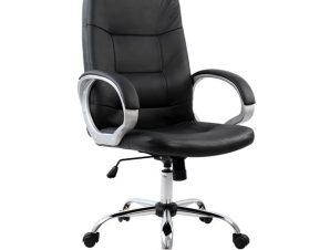 Πολυθρόνα διευθυντή από PU σε χρώμα μαύρο 64x55x120