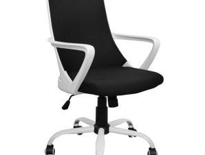 Πολυθρόνα εργασίας από ύφασμα σε χρώμα μαύρο/λευκό 58x59x103