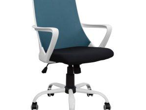 Πολυθρόνα εργασίας από ύφασμα σε χρώμα λευκό/μπλε 58x59x103