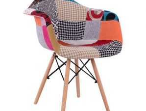 """Πολυθρόνα """"MIRTO"""" από ύφασμα/ξύλο σε χρώμα patchwork 63x57x80"""