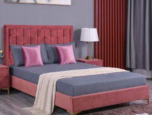 """Κρεβάτι διπλό """"MONTPELLIER"""" από ύφασμα σε χρώμα σάπιο μήλο 150×200"""