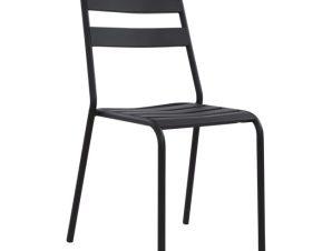 """Καρέκλα """"JASON"""" εξωτερικού χώρου από μέταλλο σε χρώμα μαύρο 43x50x86"""