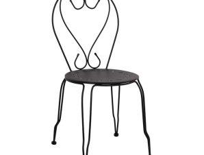 """Καρέκλα """"AMORE"""" μεταλλική σε μαύρη απόχρωση 42x48x90"""