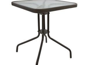 """Τραπέζι εξωτερικού χώρου """"FIGO"""" από μέταλλο σε καφέ χρώμα 60x60x72"""