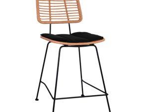 """Σκαμπό μεσαίου ύψους """"ALLEGRA"""" από wicker/μέταλλο σε χρώμα μπεζ/μαύρο 55x56x107"""