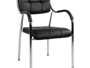 Πολυθρόνα επισκέπτη από μέταλλο/PU σε χρώμα μαύρο 54x52x87