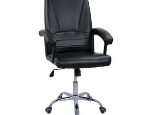 Πολυθρόνα διευθυντή από PU/μέταλλο σε χρώμα μαύρο 65x67x107-117
