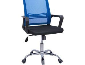 Πολυθρόνα εργασίας από ύφασμα mesh/PP σε χρώμα μπλε/μαύρο 60x57x94-104