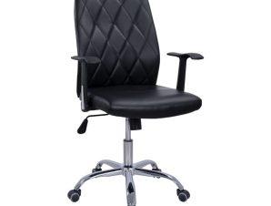 Πολυθρόνα εργασίας από μέταλλο/PU σε χρώμα μαύρο 61x59x108