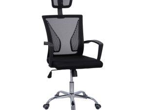 Πολυθρόνα εργασίας από PP/ύφασμα mesh σε χρώμα μαύρο 58x62x124