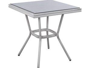 """Τραπέζι """"BAMBOO LOOK"""" από αλουμίνιο σε λευκό χρώμα πατίνα 70x70x76"""