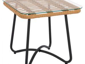 Τραπέζι εξωτερικού χώρου από μέταλλο-wicker-γυαλί σε μαύρο-μπεζ 50x50x48,5