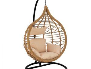 Κρεμαστή πολυθρόνα-φωλιά από μέταλλο-wicker σε μαύρο-μπεζ χρώμα 105x65x130