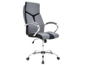 """Πολυθρόνα διευθυντή """"SHARK"""" από τεχνόδερμα σε χρώμα γκρι-μαύρο 60x64x117/125"""