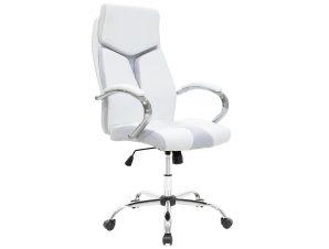 """Πολυθρόνα διευθυντή """"SHARK"""" από τεχνόδερμα σε λευκό 60x64x117/125"""