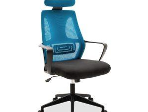 """Καρέκλα γραφείου διευθυντή """"DOLPHIN"""" με ύφασμα mesh χρώμα μαύρο-μπλε 65.50x64x117/126"""