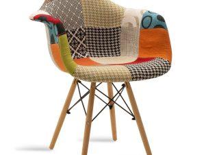 """Πολυθρόνα """"JULITA"""" ύφασμα patchwork πολύχρωμο 65x62x80"""