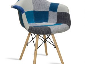 """Πολυθρόνα """"GASTON"""" υφασμάτινη με patchwork μπλε-γκρι 65x62x80"""