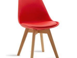 """Καρέκλα """"GASTON"""" από pp-pu σε χρώμα κόκκινο-φυσικό 47,5x57x80,5"""