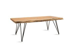 """Τραπέζι σαλονιού """"RICH"""" από μασίφ ξύλο-μέταλλο σε καρυδί-μαύρο χρώμα 130x71x45"""