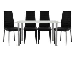 Σετ Τραπεζαρίας 5τμχ Με Τραπέζι 120x70x75εκ. & Καρέκλες Μαύρες Freebox FB910061.12 (Υλικό: Μεταλλικό, Χρώμα: Μαύρο) – Freebox – FB910061.12