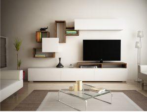 Σύνθετο Τηλεόρασης Μελαμίνης 210×36,8×102,7εκ. Καρυδί-Λευκό Freebox FB98944.01 (Υλικό: Μελαμίνη, Χρώμα: Λευκό) – Freebox – FB98944.01