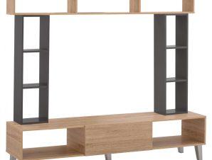 Σύνθεση Τηλεόρασης Μελαμίνης Sonama-Dark grey 180,5x32x155,5 εκ. Freebox FB92253.10 (Υλικό: Μελαμίνη, Χρώμα: Γκρι) – Freebox – FB92253.10